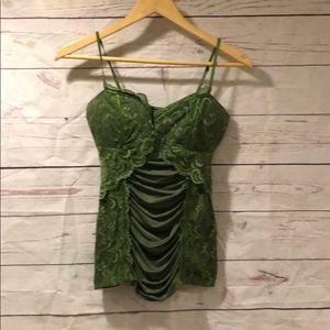 Xoxo green spaghetti strap corset top. Small